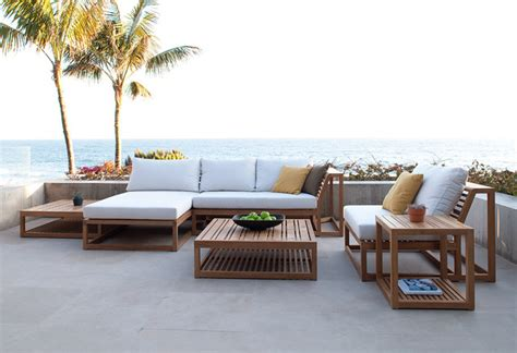 Modern Teak Outdoor Furniture Maya 6pc Teak Lounge Set Modern Patio Orange County