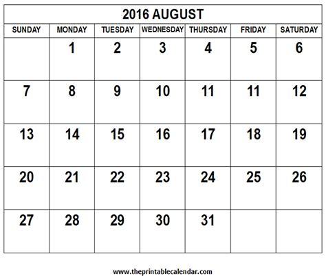 Kalender 2016 August August 2016 Calendar Calendar Template 2016