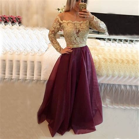 prom dresses on pinterest lace gowns prom and sequin dress 2016 sexy long sleeve lace applique burgundy prom dress a