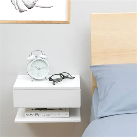 nachtschrank wandmontage floating bedside table with drawer and shelf by urbansize