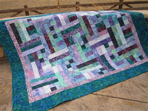Handmade Patchwork Quilt - handmade quilt teal and purple batik quilted by