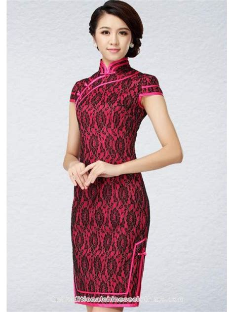 traditional chinese cheongsam dresses rose red lace modern qipao short chinese cheongsam stretch