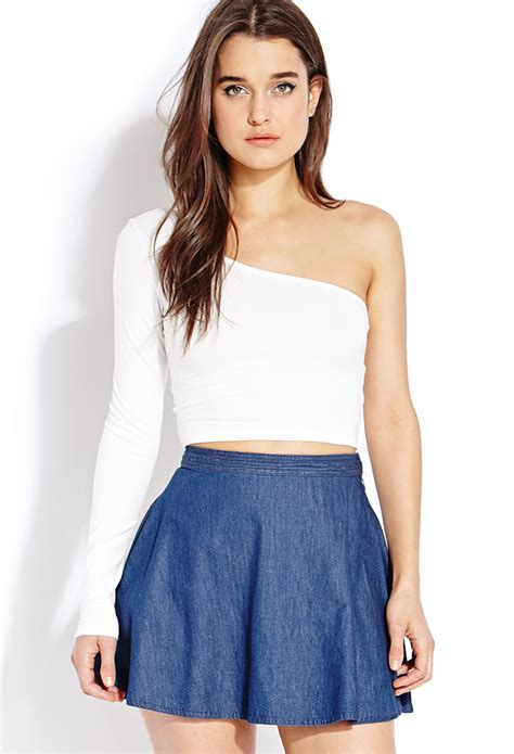 Kaos Spandex Nike 02 forever 21 standout one shoulder crop top in white lyst