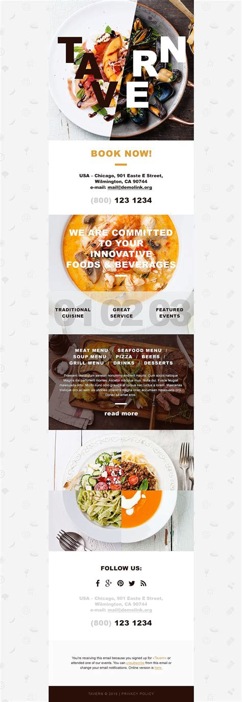 restaurant newsletter template cafe and restaurant responsive newsletter template 55080