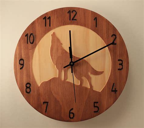 clock made of clocks pine wolf clock wood clock wall clock nature clock wooden wall