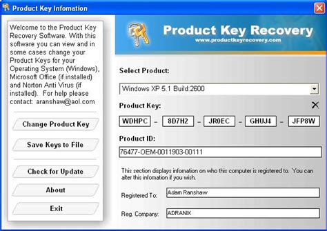 Microsoft Office 2003 Product Key by Sreenshot Windows And Office Product Key Viewer 2