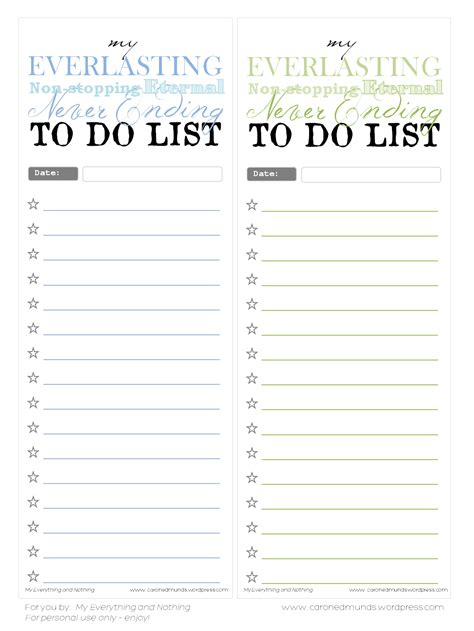 printable notepad to do list free printable to do lists my everything nothing
