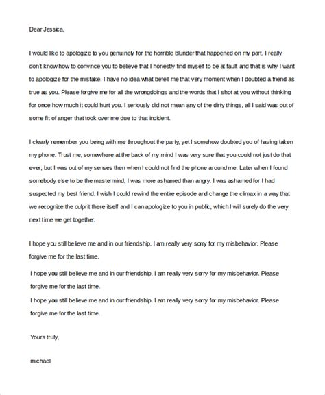 Apology Letter To A Friend Sle Sincere Apology Letter 5 Documents In Word Pdf