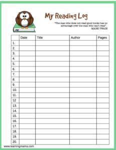 printable april reading log printable reading log learning mama