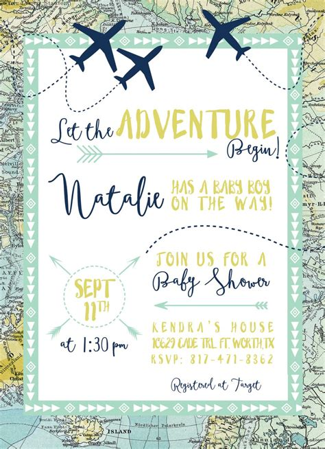 adventure maps baby shower invitation airplanes travel