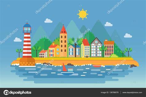 imagenes de paisajes urbanos animados ilustraci 243 n de paisaje urbano de ciudad peque 241 a paisaje