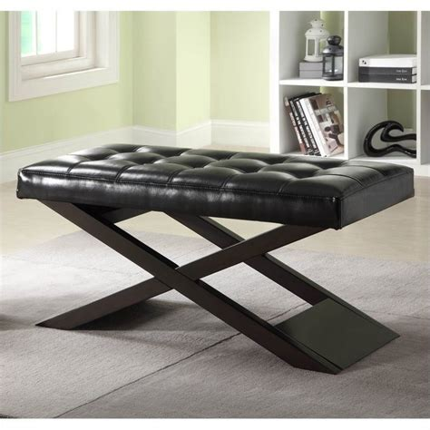 black x bench trent home natalia x bench ottoman in black 4739bk