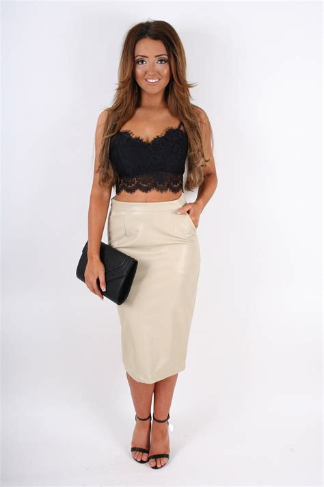 khloe beige leather look pencil skirt from dollywood