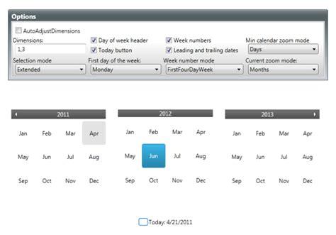 Calendar Settings Calendar Settings Calendar Wpf