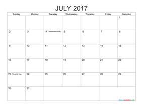 Printable July 2017 Calendar Printable 2017 Calendar Templates July Pdf Png