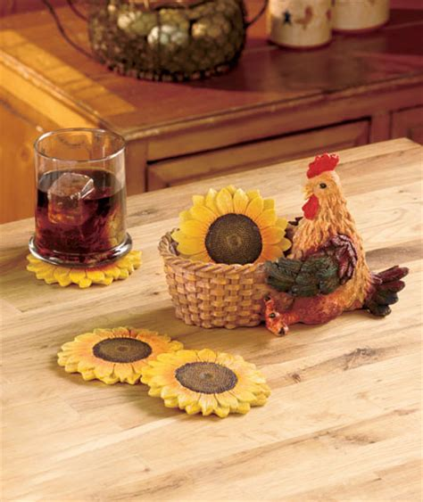 country sunflower kitchen decor 5 sunflower rooster country coaster set kitchen bar
