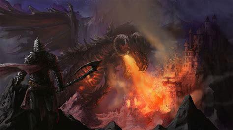 dragon memerangi ksatria hd wallpaper desktop layar lebar