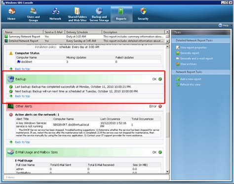 windows sbs console backupassist sbs 2008 report integration