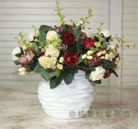 coffee table flower decorations aliexpress com buy ceramic vase rose artificial flower