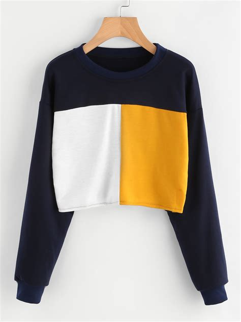 color sweat color block sweatshirt shein sheinside