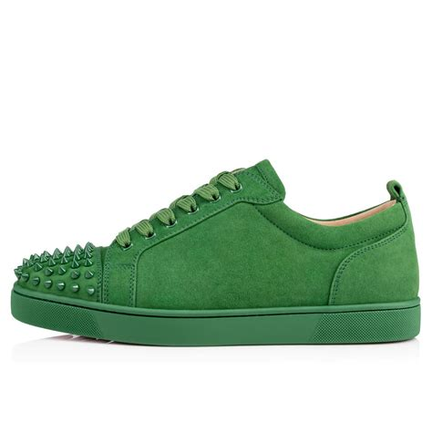 green sneakers mens christian louboutin louis junior s flat in green lyst