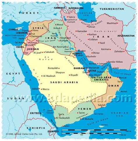 political map  saudi arabia israel jordan lebanon