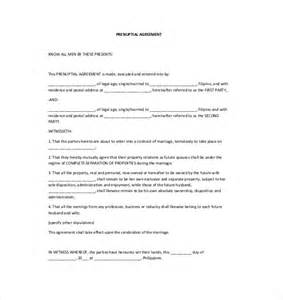 Prenuptial Template by 10 Prenuptial Agreement Templates Free Sle Exle