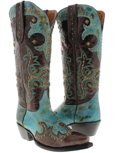 womens cowboy boots turquoise brown leather