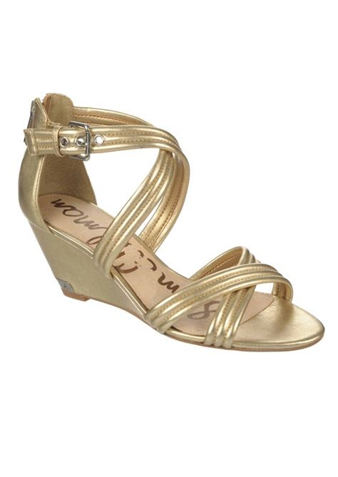 sam edelman sloan low wedge sandals rich gold