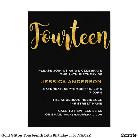 14th birthday card templates gold glitter fourteenth 14th birthday invitation