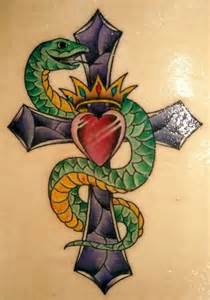 gothic snake and cross tattoo