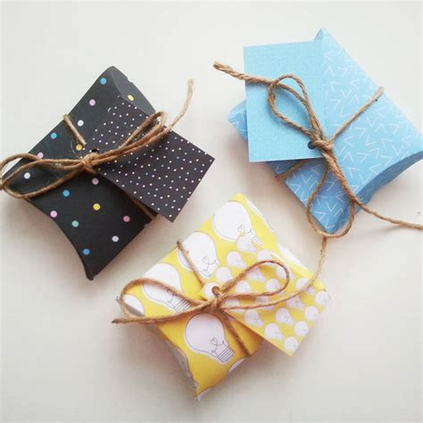 diy small gifts set of six shine bright diy pillow gift boxes by create