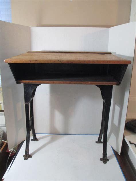 School Desk With Inkwell by Antique Industrial School Desk Adjustable Legs Black