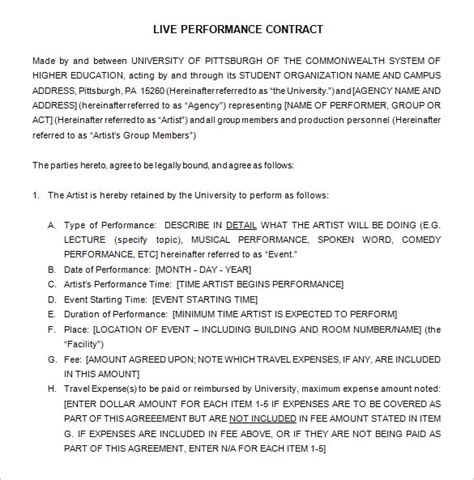 12 Performance Contract Templates Free Word Pdf Documents Download Free Premium Templates Live Performance Agreement Template
