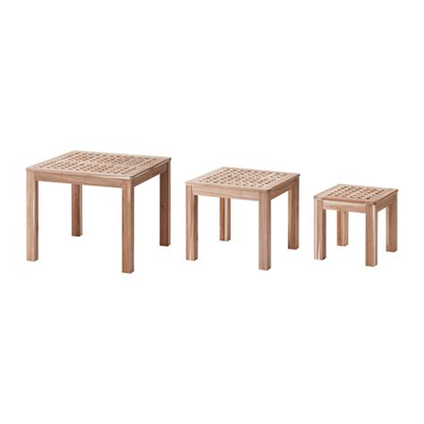 skoghall nest of tables set of 3 acacia ikea