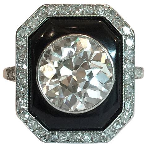 Skun Ring 1 4 deco 4 carat onyx platinum ring at 1stdibs