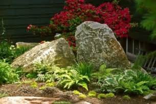 Large Rocks For Gardens Big Boulders Ferns Hosta In A Garden That Is Shaded Much Of The Day Gardening