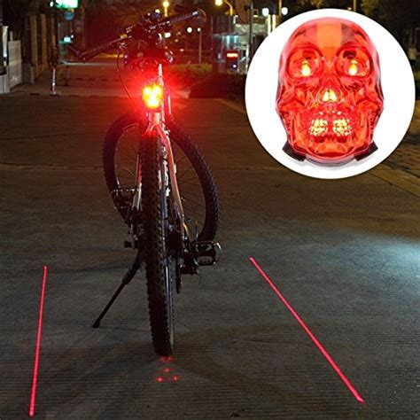 Senter Sepeda Bicycle Laser Light candance skull style high intensity 7 leds laser light for mountain bike bicycle cycling