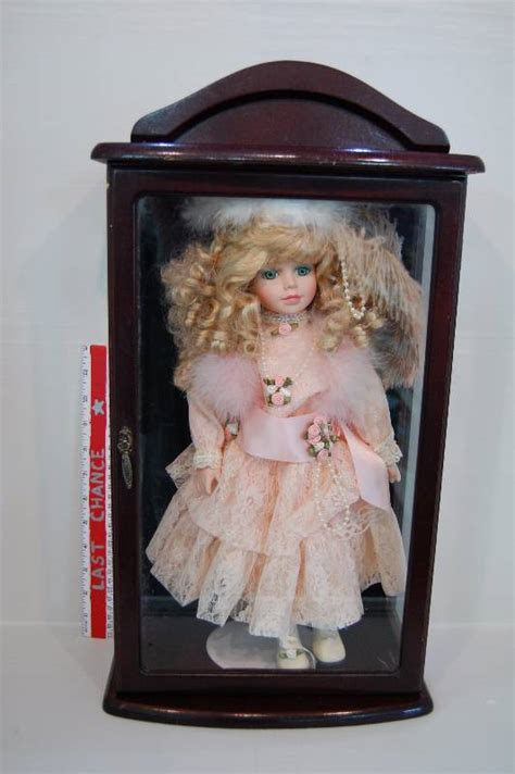 porcelain doll display porcelain doll in wood and glass display doll