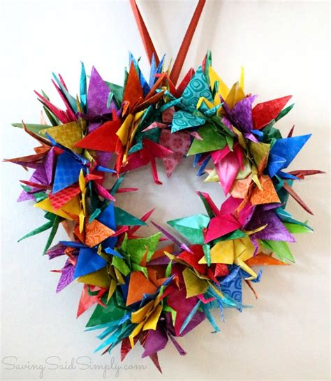 origami crane wreath craft tutorial raising whasians