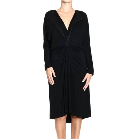 draped long sleeve dress balenciaga dress long sleeve jersey draped in black lyst