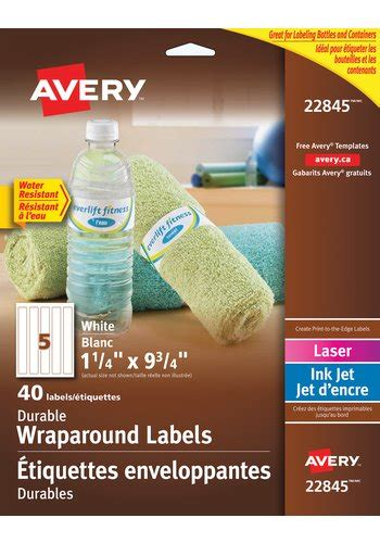 water bottle labels template avery avery durable wraparound water bottle labels 22845 9 3 4