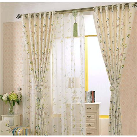 bird curtains drapes rustic style window curtains beautiful bird printing linen