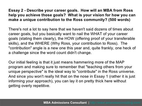 Ross Mba Essay Exles by Post Mba Goals Essay Sles Docoments Ojazlink