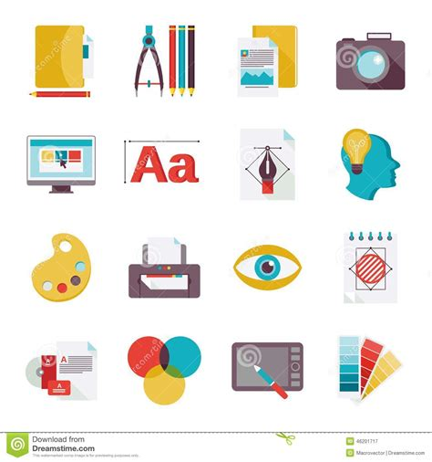 graphic design icons stock vector image of icon design graphic design icons flat stock vector image 46201717