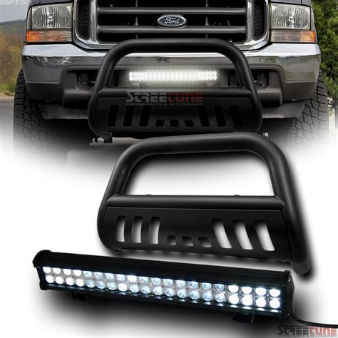 Bull Bar With Led Light Bar Matte Black Steel Bull Bar Bumper Guard 120w Cree Led Fog Light 99 04 F250 F350 Ebay