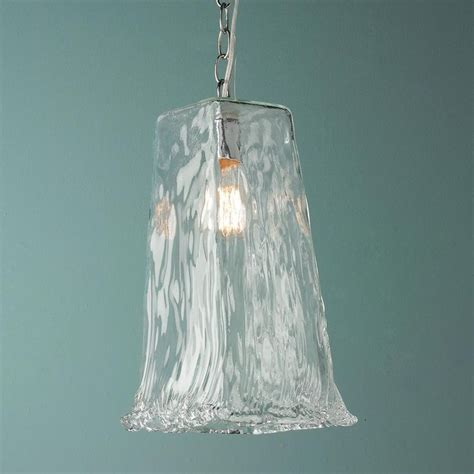 Large Square Ruffled Recycled Glass Pendant Light Recycled Glass Pendant Light