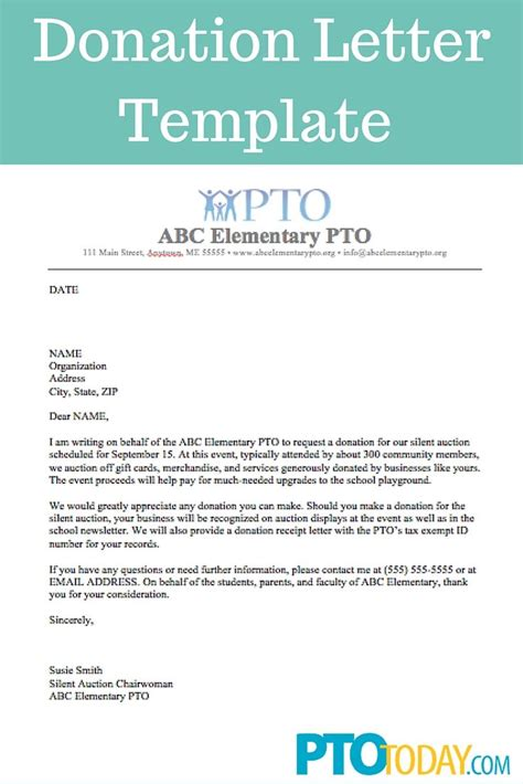 use this template to send out requests for donations to support your pto pta