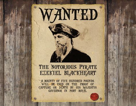 wanted pirate poster template personalised pirate wanted poster custom steunk wanted