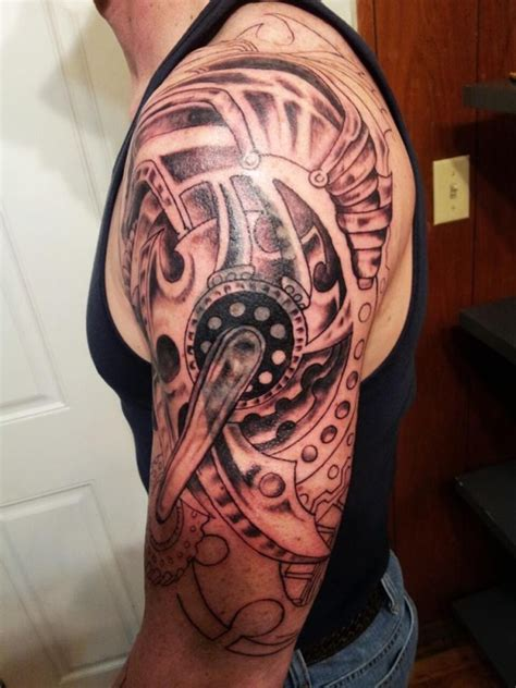 biomechanical gear tattoo sleeve large grey biomechanical gears tattoo on left half sleeve